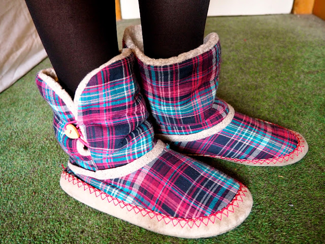 Lazy Days outfit details | pink, purple, blue tartan print, soft bootie slippers