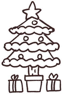 クリスマスツリーのイラスト 白黒線画