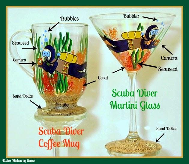 Scuba Diver painted glassware via kudoskitchenbyrenee.com