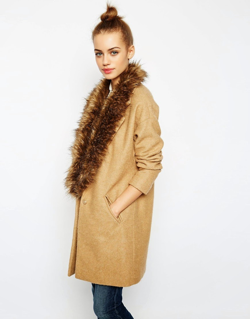 new look camel fur coat, new look fur collar coat,