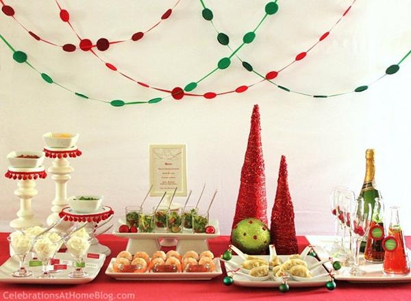 mesa de aperitivos de natal