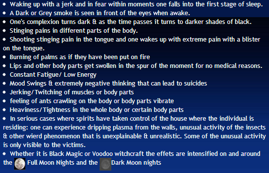 Symptoms of Voodoo Magic Spells