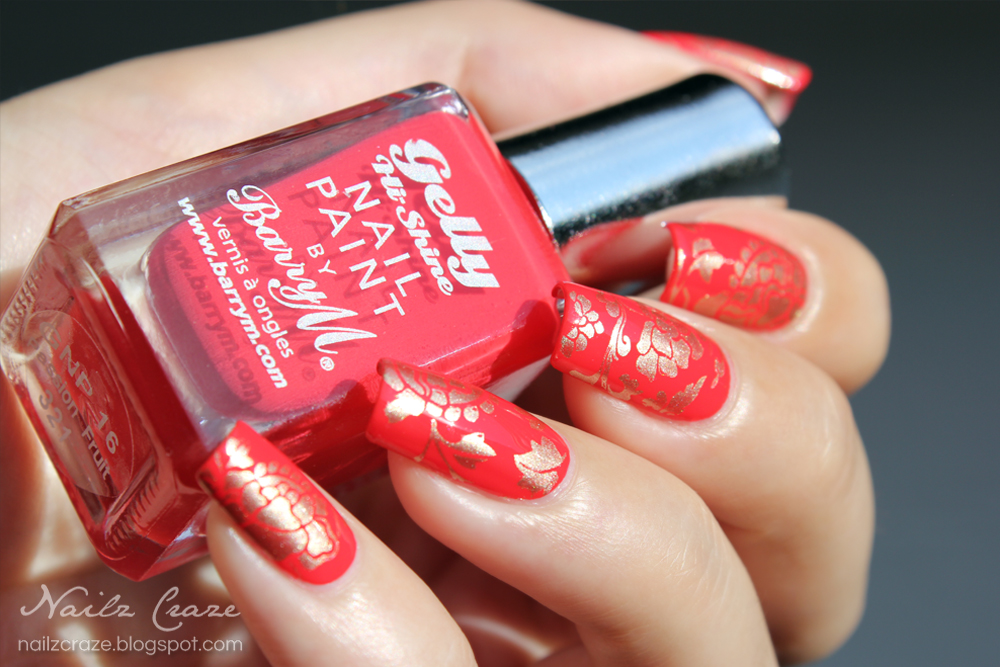 Red and Gold Chinese Inspired Nails - Nailz Craze