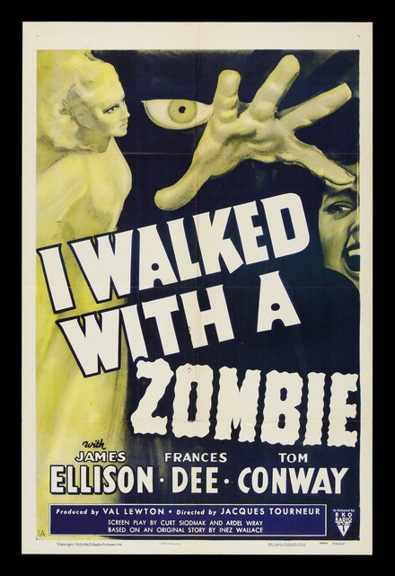 free printable, printable, classic posters, free download, graphic design, movies, retro prints, theater, vintage, vintage posters, horror movie, I Walked With A Zombie - Vintage Horror Movie Poster