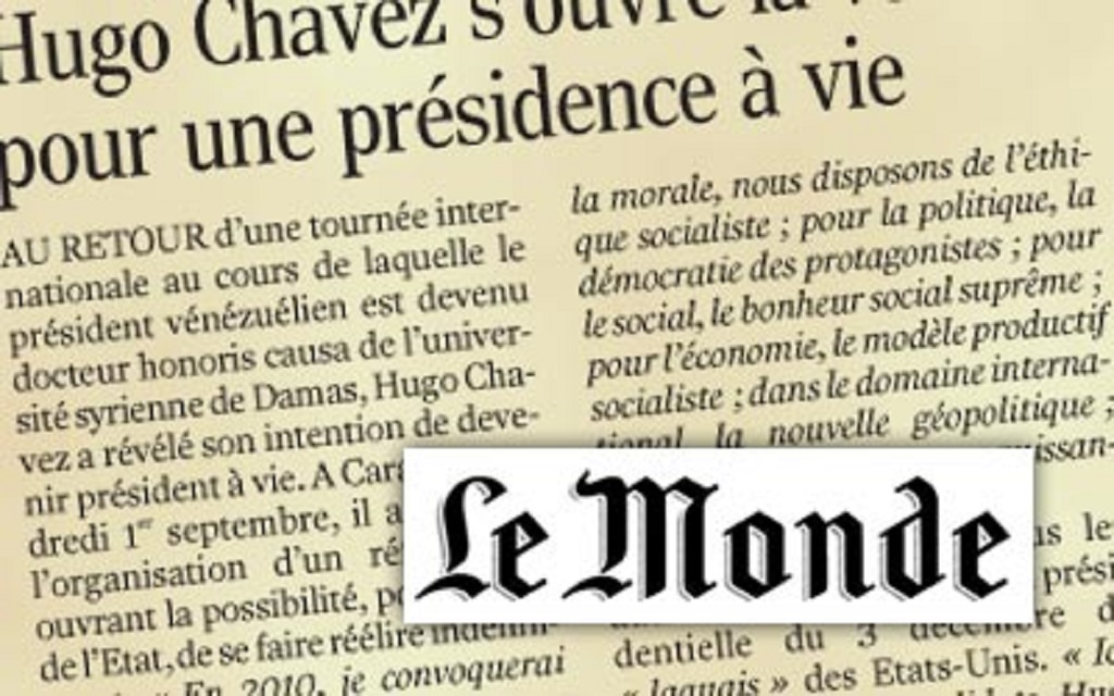 VENEZUELA : QUAND « LE MONDE » FAIT SIENNES LES MANIPULATIONS DU COMMANDANT SAÚL