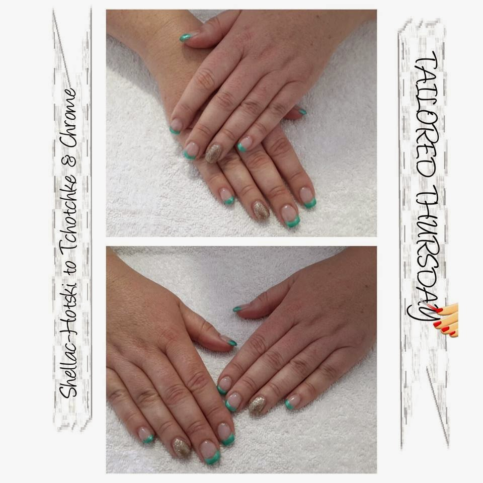 Acrylic/Shellac service acrylic sculpts acrylic overlay then her Shellac French manicure in Hotski to Tchotchke and chrome gold feats acrylic extensions, Shellac and bling gel polish pedicure stunning purple