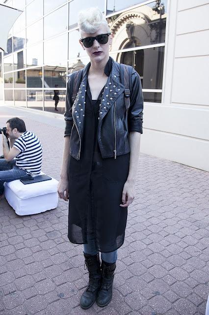 blond, jacket, black,leather