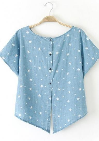 blue floral short sleeve loose denim blouse, CiChic.com