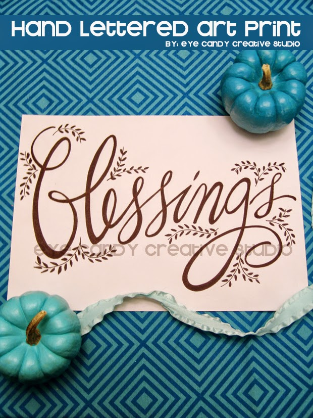 blessings art print, hand lettering, fall art print, hand lettered art print, wordart, framed art