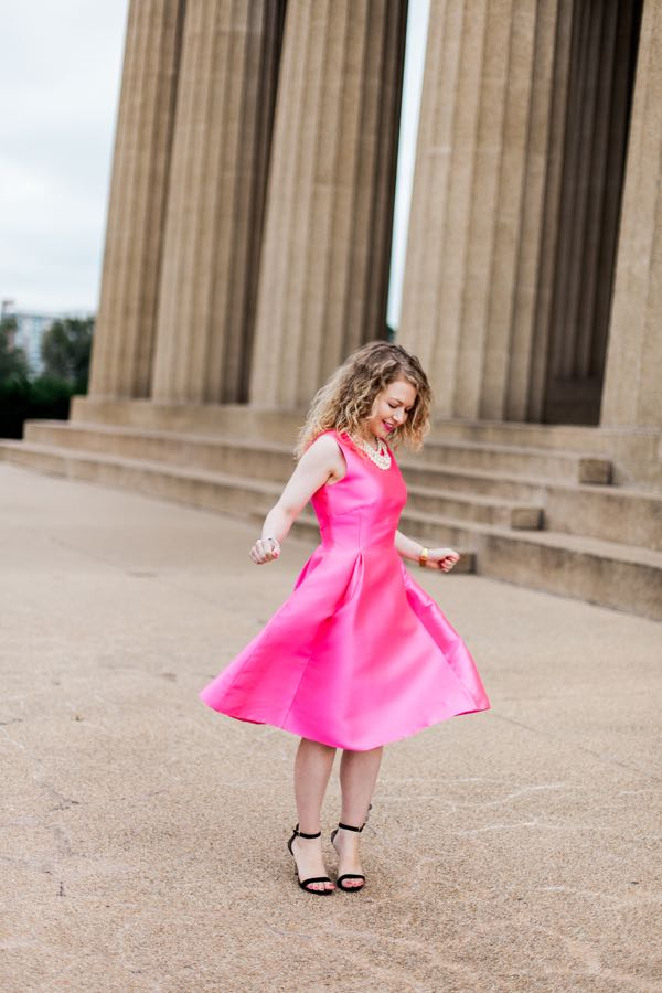 Pink Kate Spade sleeveless fit and flare bow back dress, blogiversary, photoshoot