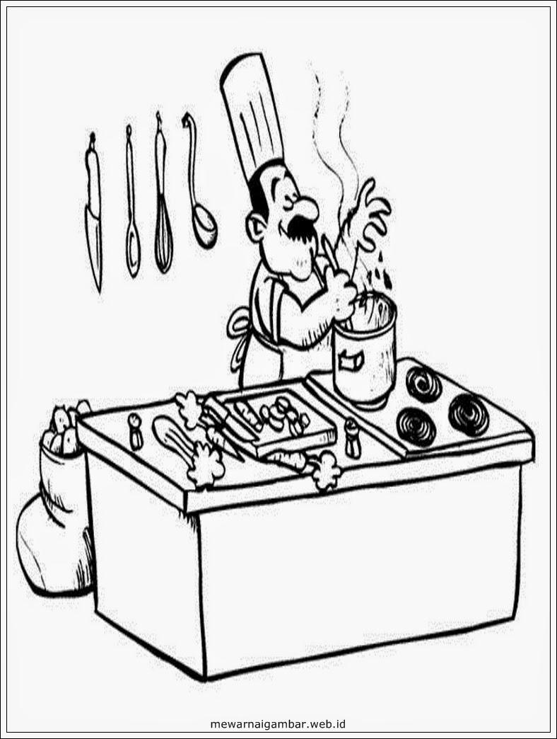 Gambar Mewarnai Profesi Chef Sketsa Master Lembar Animasi Kartun Memasak
