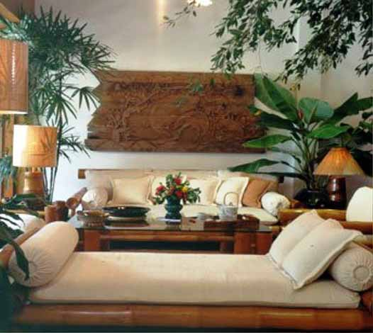livingroom with bamboo chair furniture with pillow