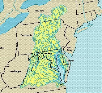 Chesapeake Bay Estuary and water Sources Map