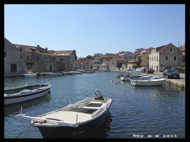 view from Vrboska canal, the venice of Hvar island