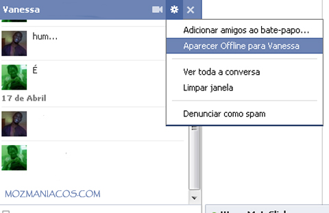 Ficar Offline no Chat do Facebook