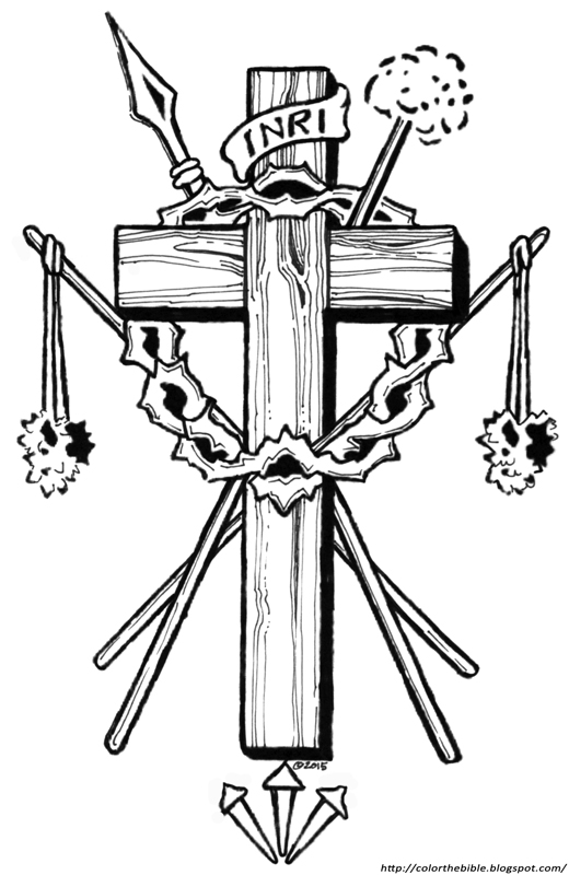 Description Of Coloring Page Crucifixion Symbols Flagrums That Tore His Flesh Thorns Crowned Head Nails Pierced Hands The Spear