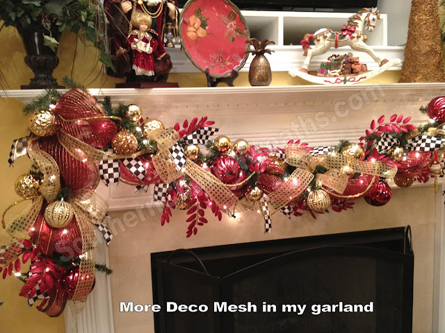 i used the black and white checker ribbon also on my fireplace garland to tie the two together