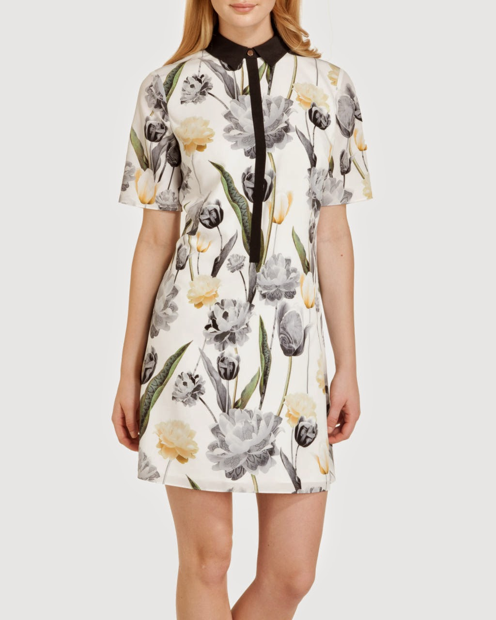 ted baker floral dress, ted baker black collar dress,