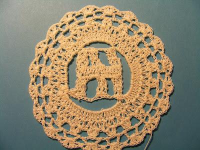 Monogrammed crochet doily