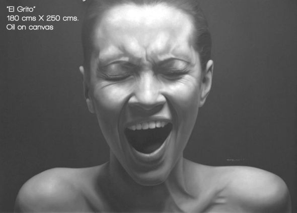 Juan Carlos Manjarrez hyper-realistic paintings portraits black and white Scream