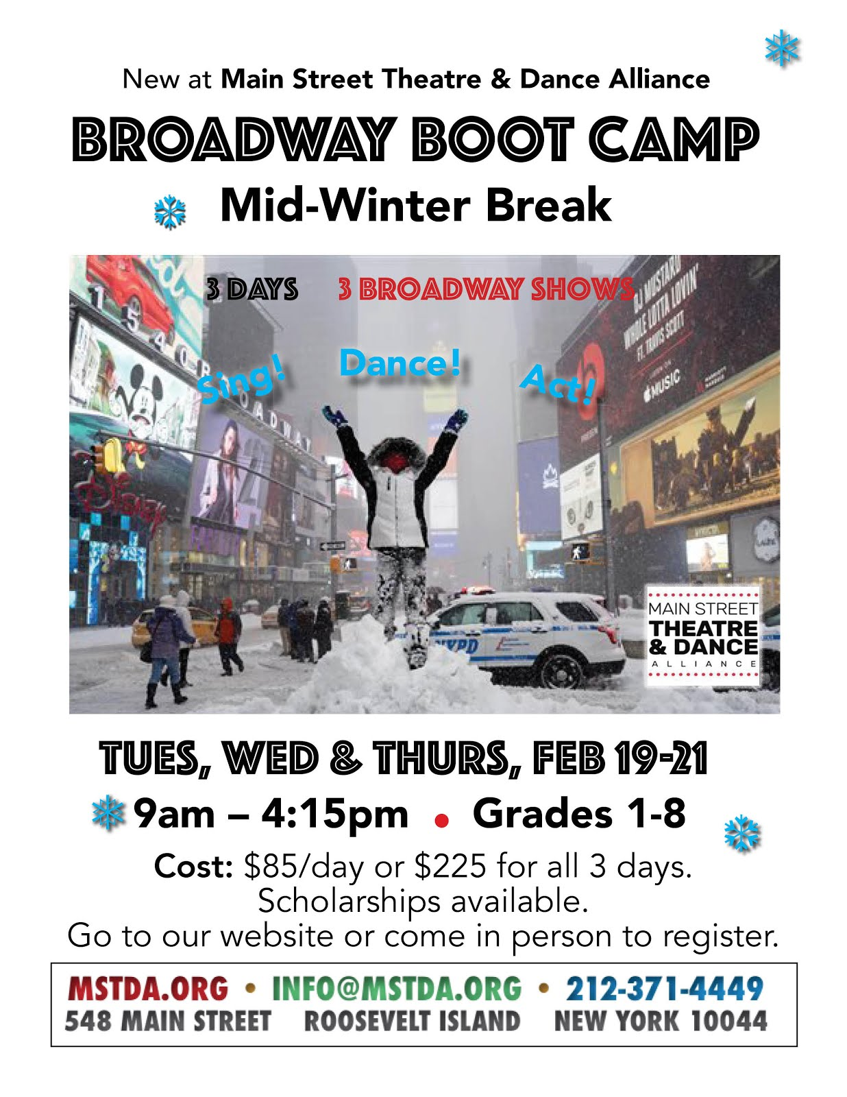 MST&DA Broadway Boot Camp For Kids Grades 1-8