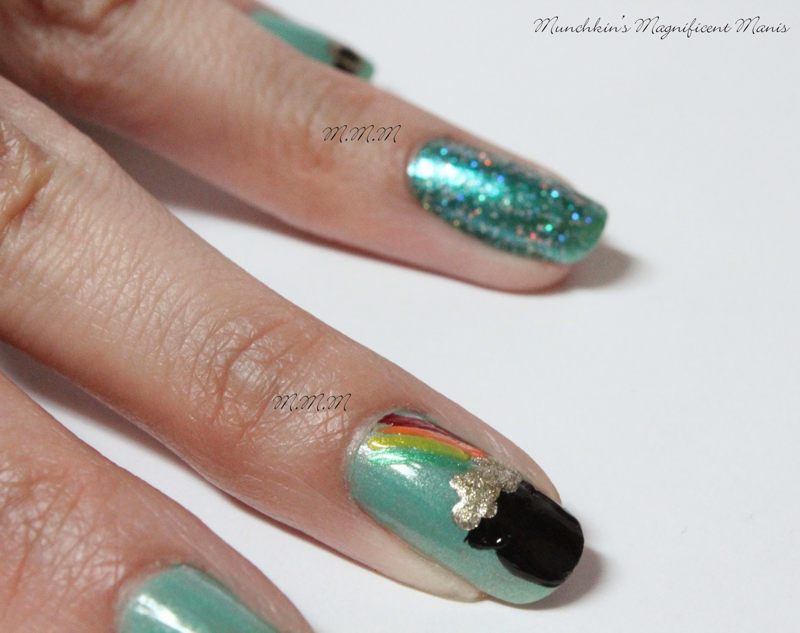 Munchkins magnificent manis dont pinch me st patricks day design we finish the pot of gold now the finishing touch the rainbow take your thin nail art brush dipped in red polish first then make a thin line that curves prinsesfo Choice Image