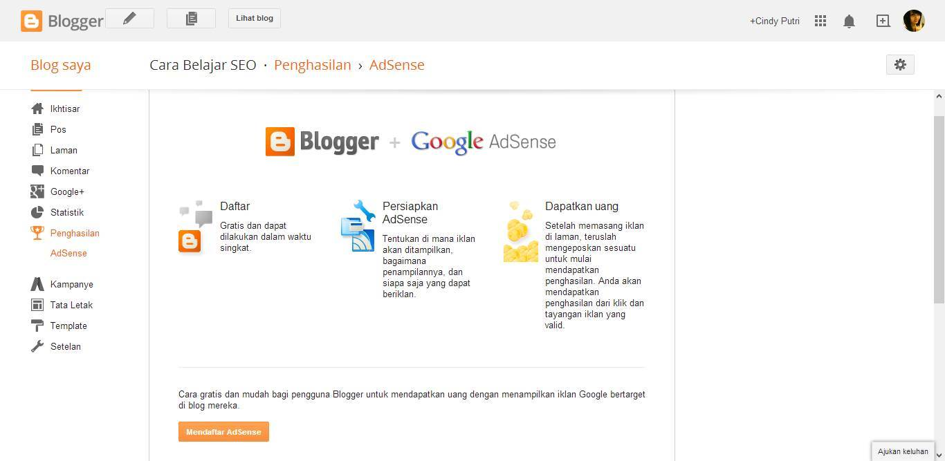 Daftar AdSense dari Blogger