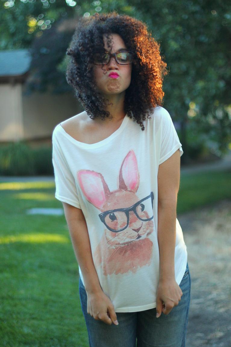 pink lips, nars matte pink lipstick, romwe tees, bunny wearing glasses, bunny tee