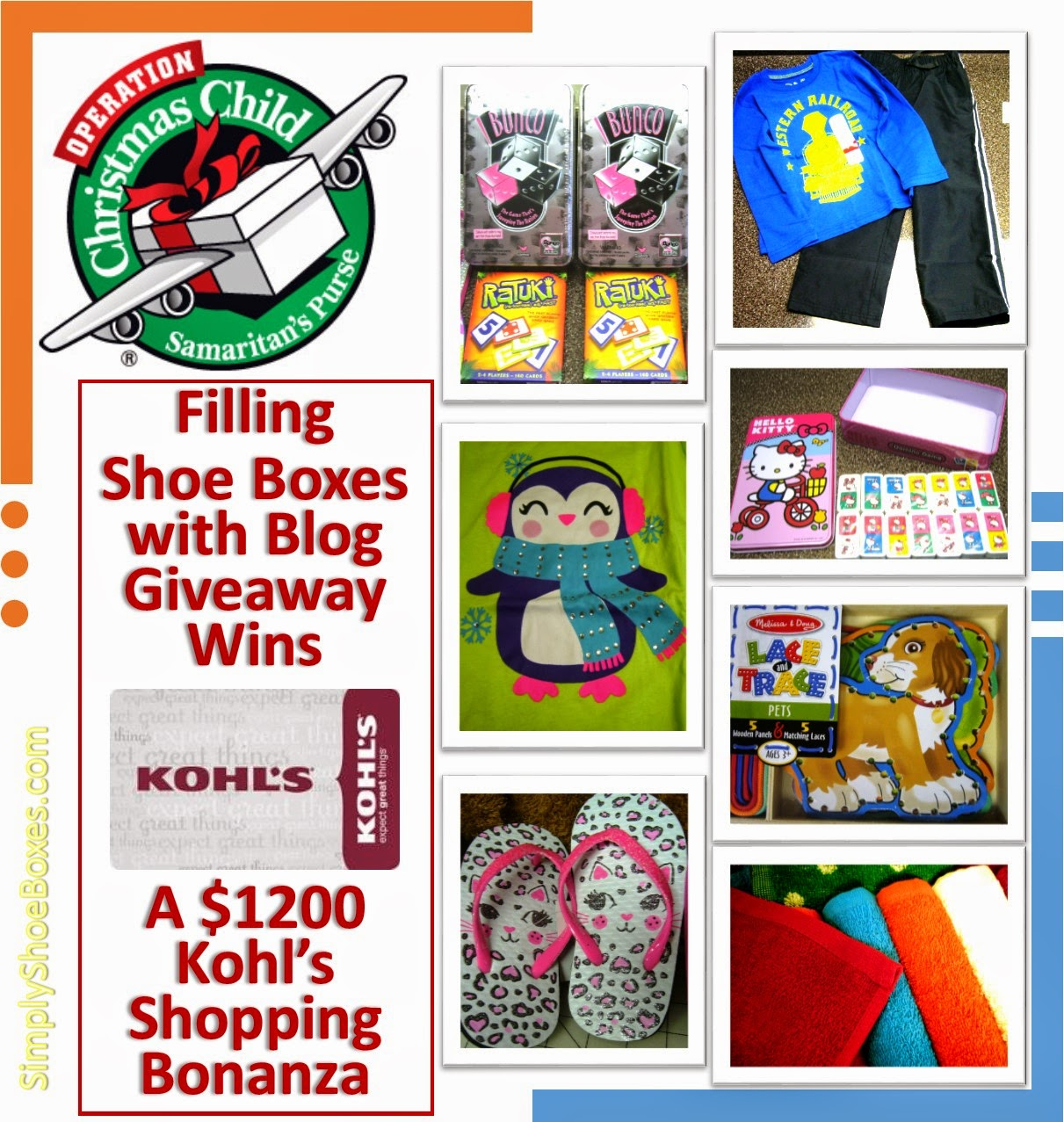 Filling Operation Christmas Child shoe boxes with blog giveaway wins
