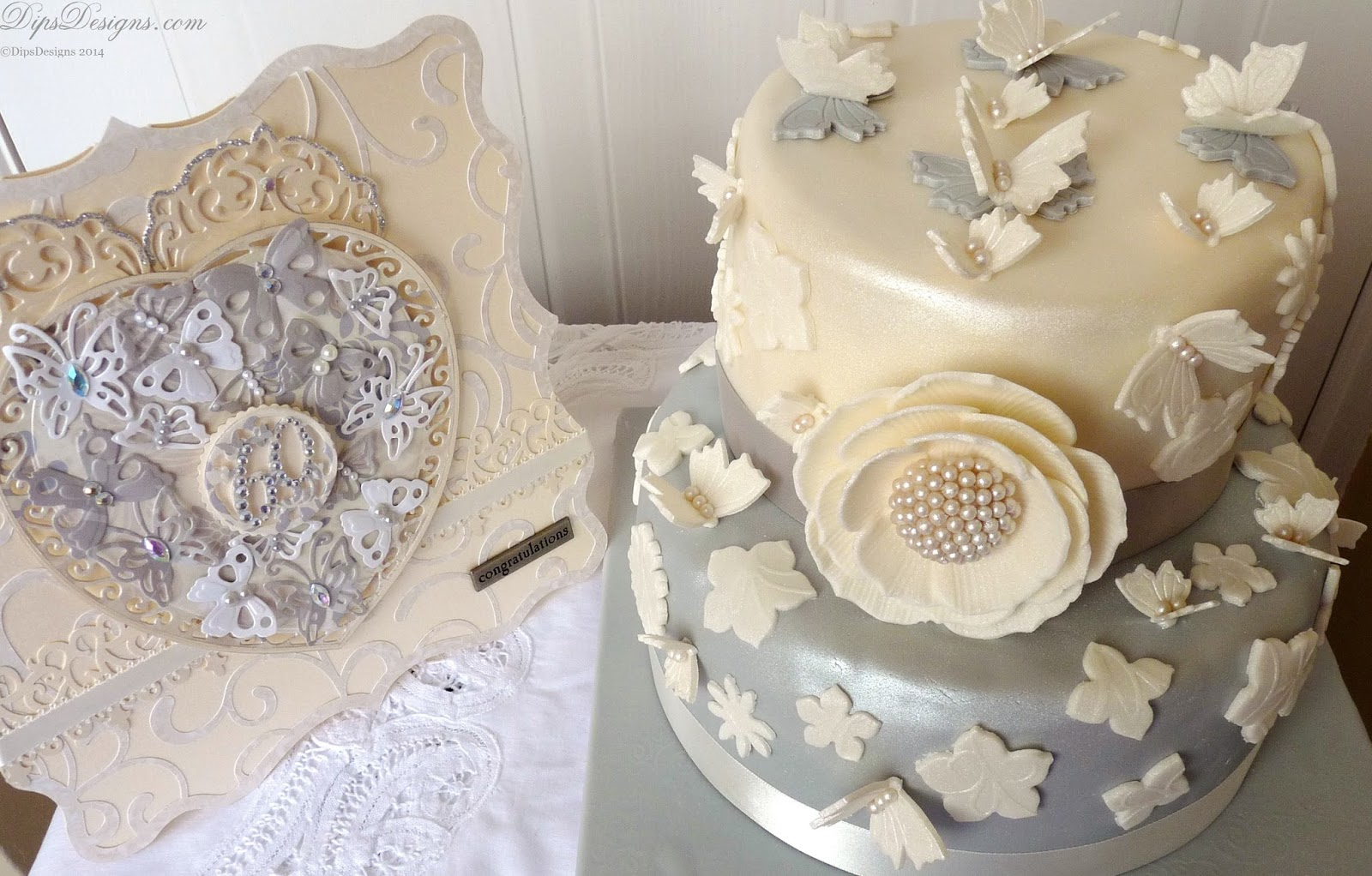 Diamond Wedding Anniversary Platinum & Ivory Cake and Card