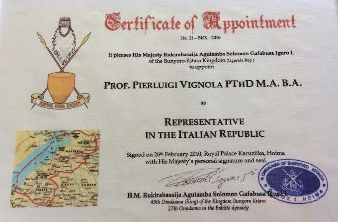 Don Vignola Pierluigi di Potenza nominato rappresentante in Italia del re del bunyoro kitara in Uganda