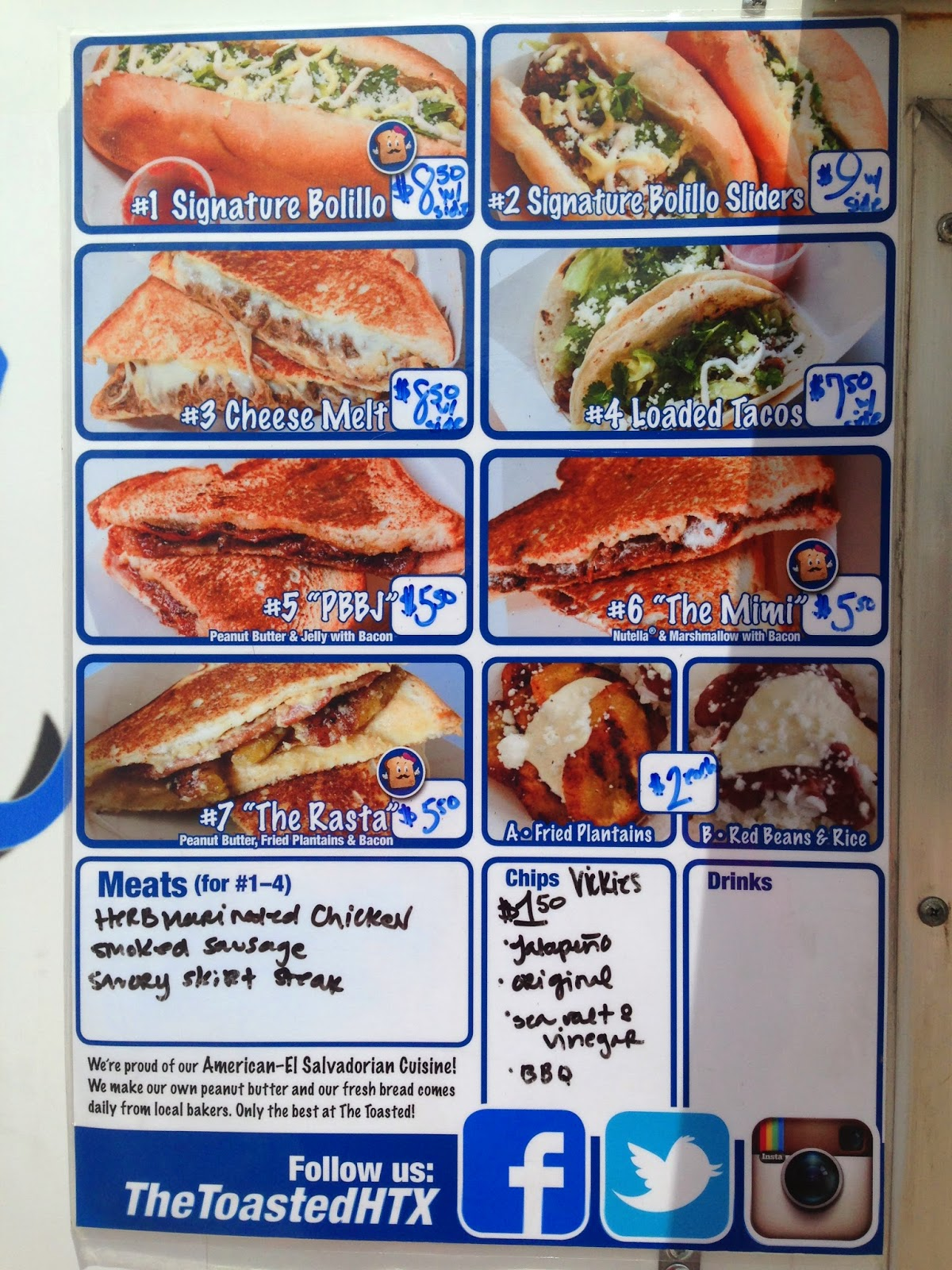 The Toasted Food Truck, menu