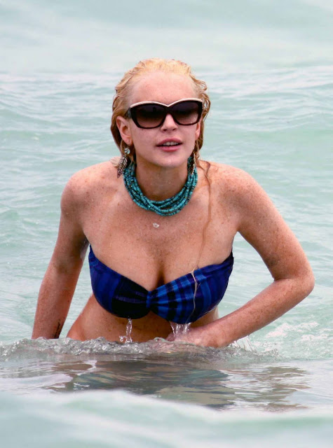 Lindsay Lohan on the beach