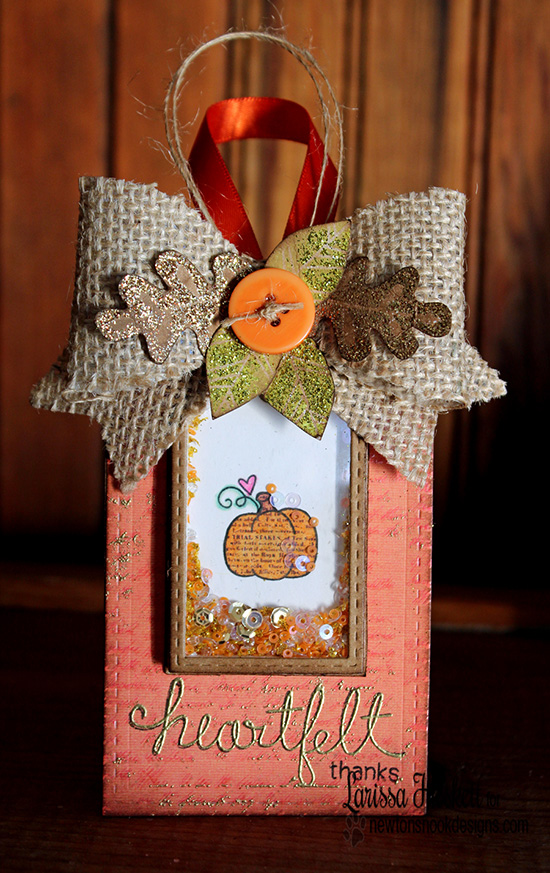 Thank You Shaker Tag with pumpkin by Larissa Heskett for Newton's Nook Designs