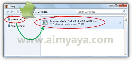 Gambar: Menjalankan  file hasil download : Office language interface pack (bahasa Indonesia)
