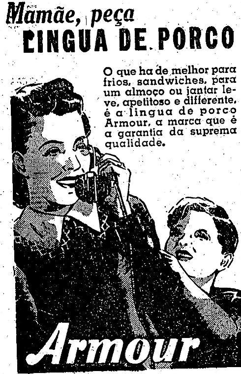 Propaganda da Língua de Porco Armour para lanches e petiscos.
