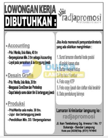 Lowongan Kerja Lampung Sabtu 22 November 2014 RadjaPromosi