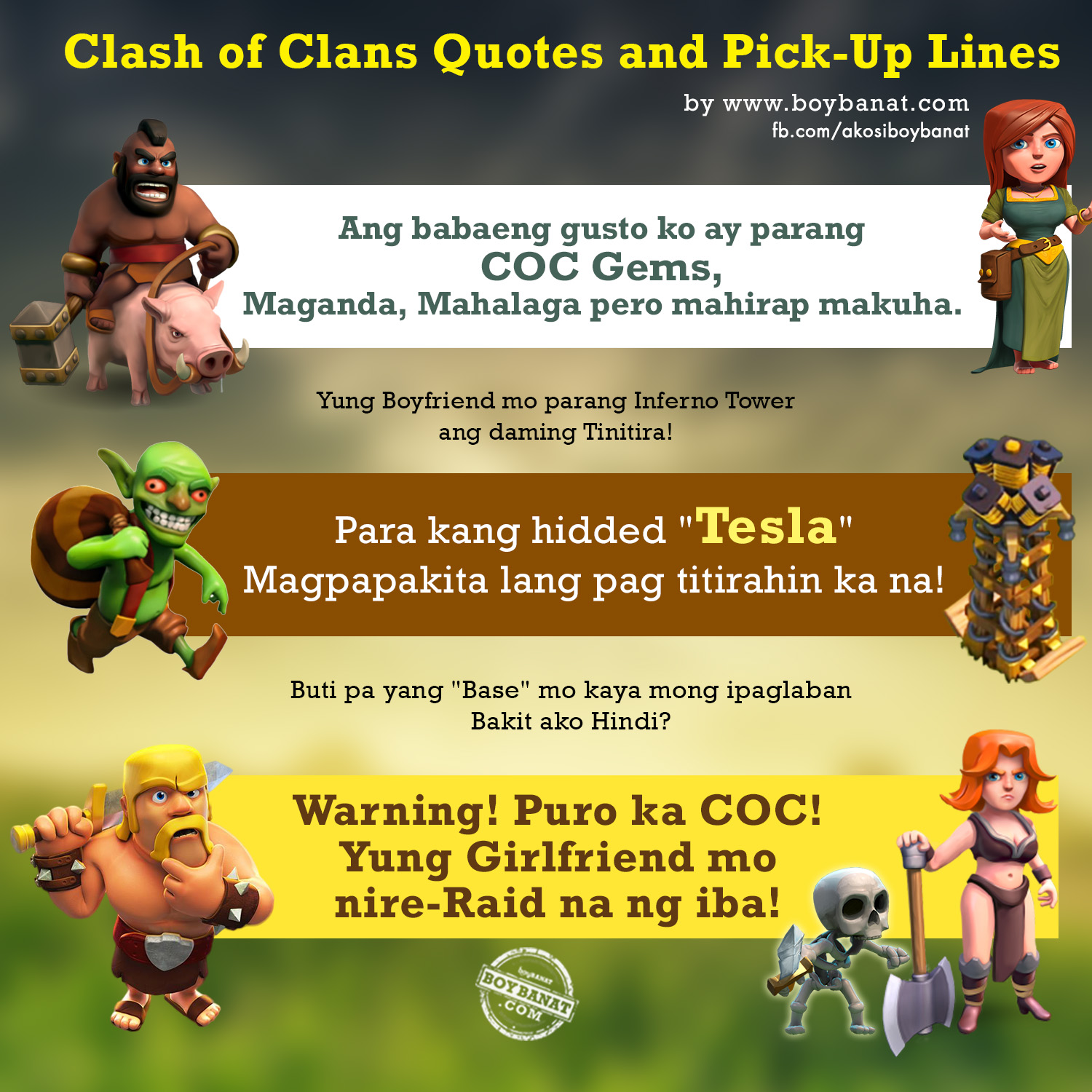 clash of clans coc quotes and pick up lines boy banat