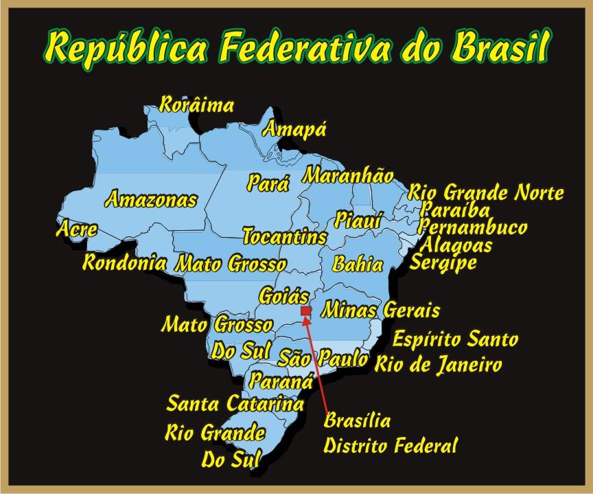 Mapa do Brasil 27 Estados da Federação