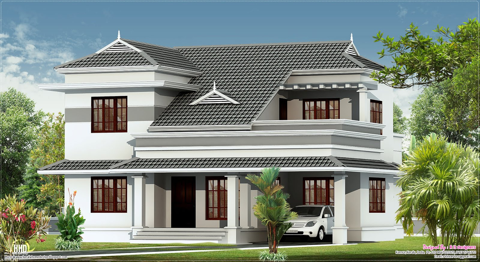 New villa design in 2250 kerala home design and for Kerala style villa plans