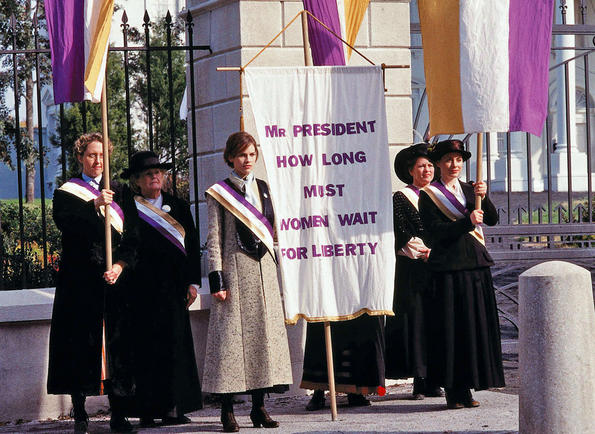 iron jawed angels Alice paul (hilary swank) and lucy burns (frances o'connor) fight for women's suffrage.