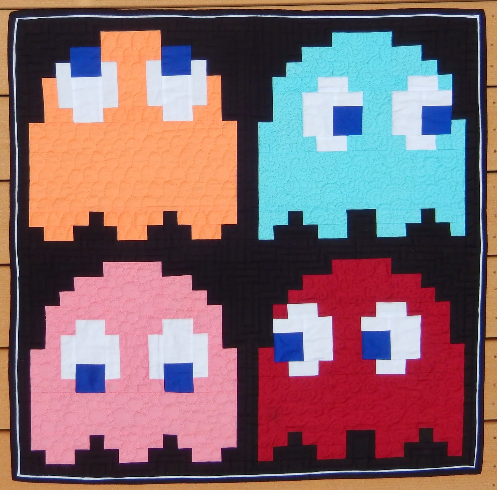 Pac Man Ghost Quilt by Afton Warrick @ Quilting Mod