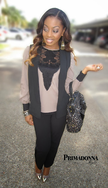 Asos Blouse with Lace Yoke Insert Mossimo Women's Vest Narcisco Rodriguez for DesigNation Crepe Tuxedo Pants  Steve Madden P-Sneek Peep Toe Heels Jessica Simpson Handbag Earrings & Bracelets: Forever 21 Lip: Black Radiance Liquid Lip Color in Cocoa Bronze