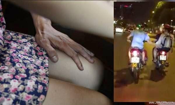 Clip cô gái Hà Nội được bạn trai đèo vẫn bị sàm sỡ sờ mông đùi