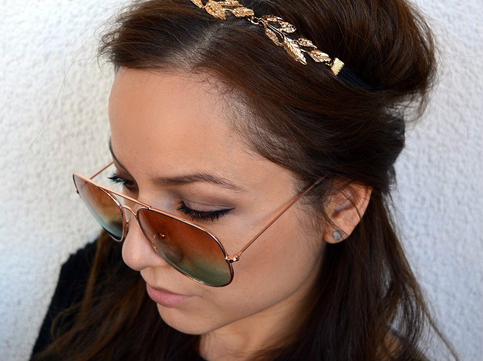 #beauty, 2015 hairstyle trend, beauty, hair accessories, hairstyle, wavy hairstyle, gold leaves headband, lovelywholesale.com