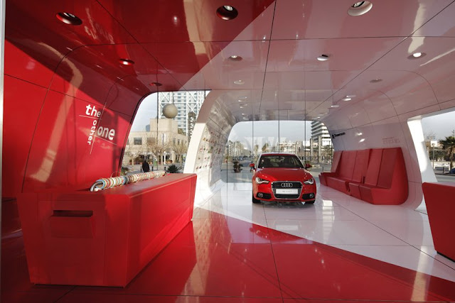 Modern red interiors of Audi pavilion