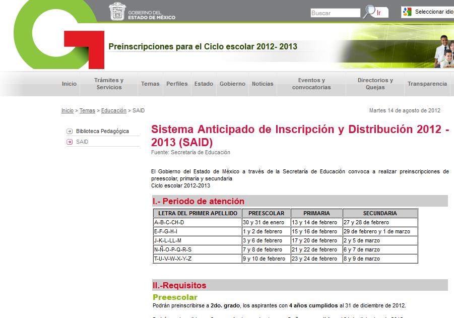 Resultados primaria secundaria EDOMEX SAID 2012