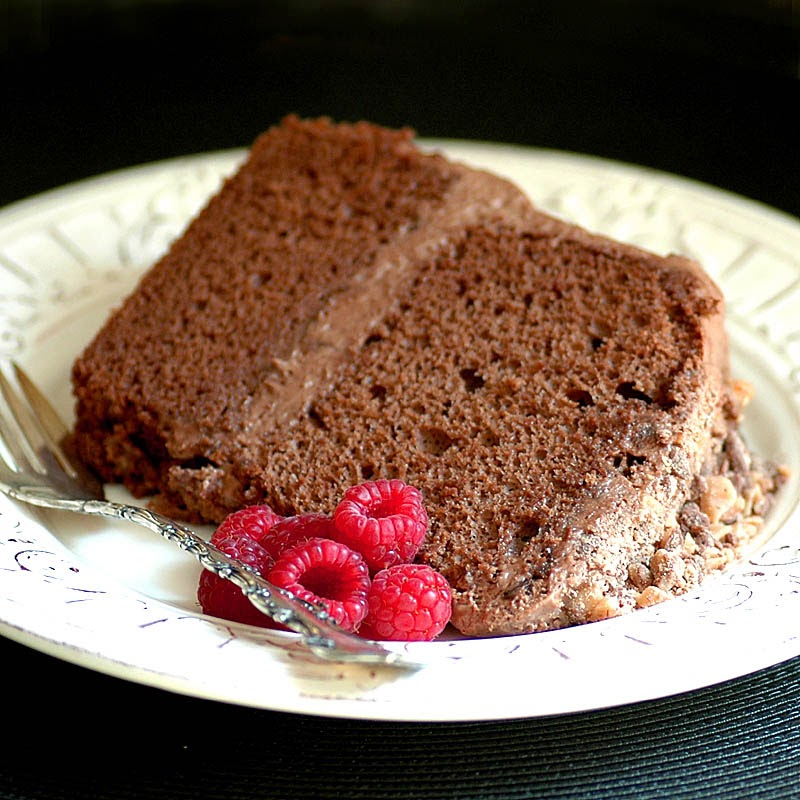 Chocolate and Toffee Chiffon Cake