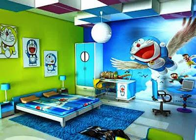 Gambar Wallpaper Dinding Kamar Tidur Anak Doraemon