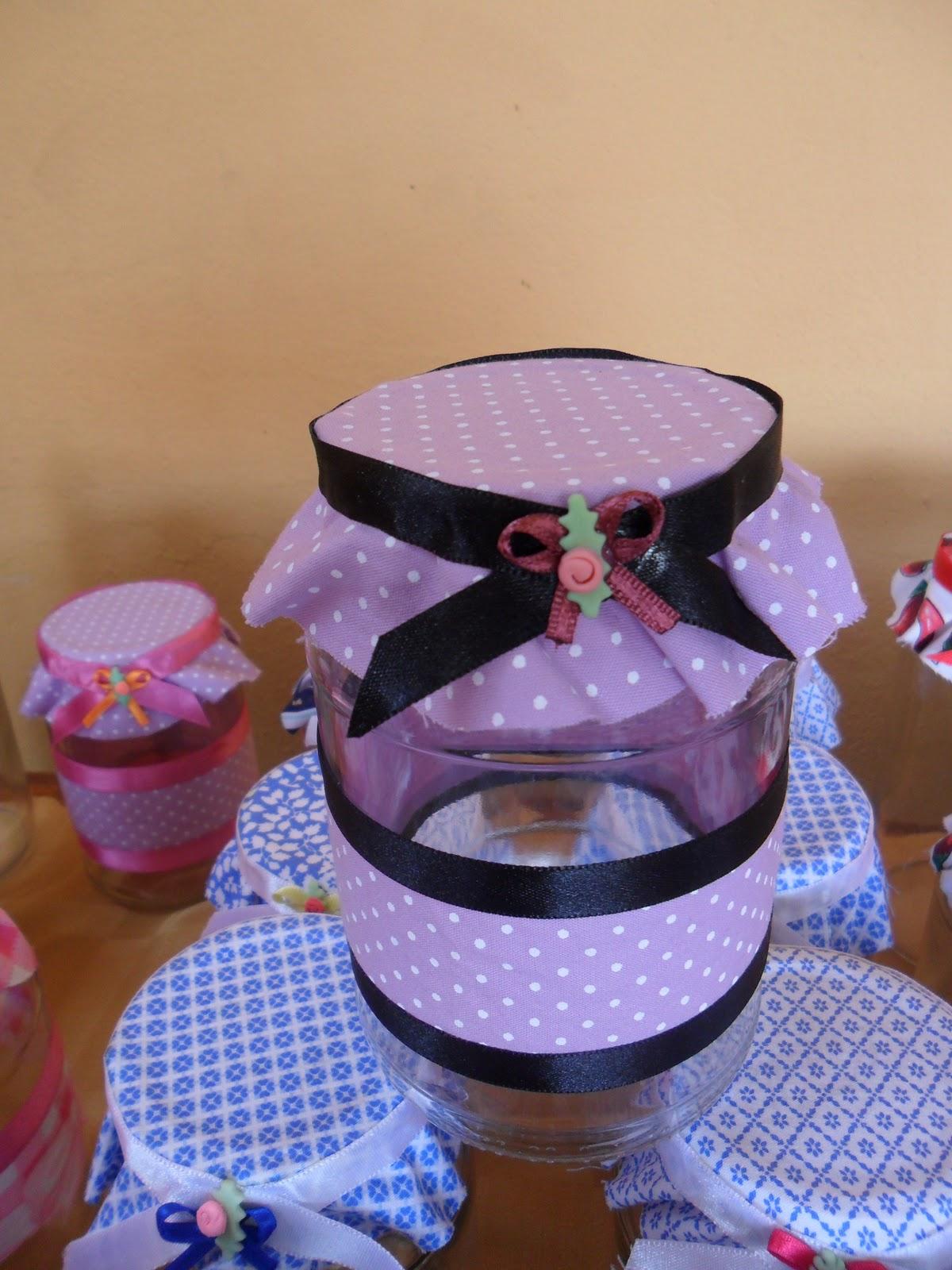 #373D94 IDEIAS DE GABYZYNHA: Potes de vidro decorados com tecido 1560 Vidros De Janelas Decorados